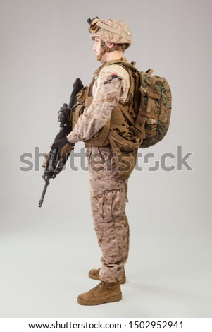 Army  marines ranger with assault rifle