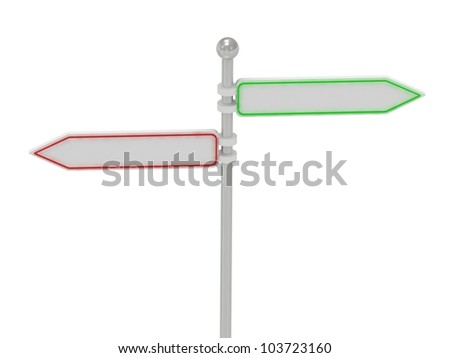 2 arrow-signs in different directions, isolated over white, 3d render illustration