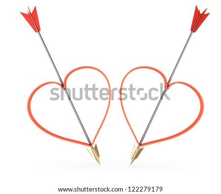 arrows and heartshapes isolated on white background. 3d valentine's day concept