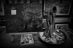 Art elements, Black and white , painting, Oil color , Buddha statue  ,  background  ,from thailand