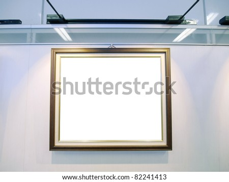 Art gallery with blank canvas