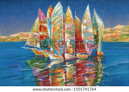 Art work. Autumn regatta. Decorative and textured techniques on canvas. Author: Nikolay Sivenkov.