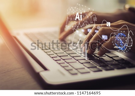 Artificial Intelligence AI, Internet of Things IoT concept. Business man using laptop computer on technology background, 4.0 industrial technology development, remote control