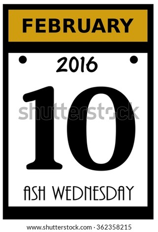 2016 Ash Wednesday Calendar Date Icon Stock Photo