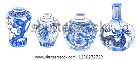 Asian traditional vases isolated on white painted with watercolor