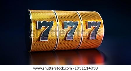 Сasino background, golden slot machine concept.  '3D rendering' Stockfoto ©