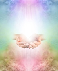 Ask Believe Receive in the healing Power of Loving Kindness - female  cupped hands emerging from multicoloured ethereal background with copy space above and below