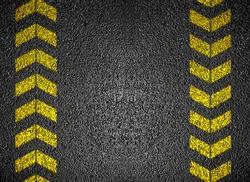 Asphalt Background with danger signs