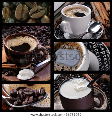assembly with pictures of coffee, milk, sugar and grains