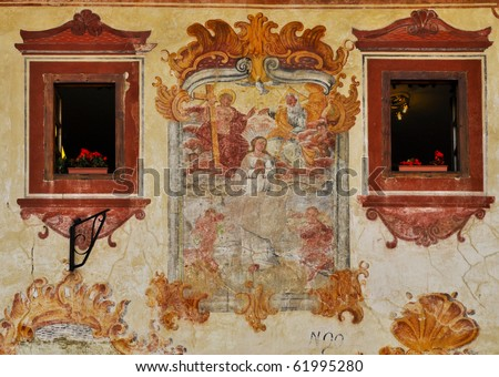 Assumption of the Virgin. Renovated fresco between ornamental windows. Bardejov; Slovakia - UNESCO World Heritage town.