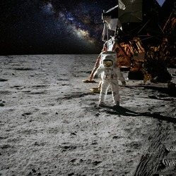 Astronaut on moon (lunar) landing mission. Elements of this image furnished by NASA.