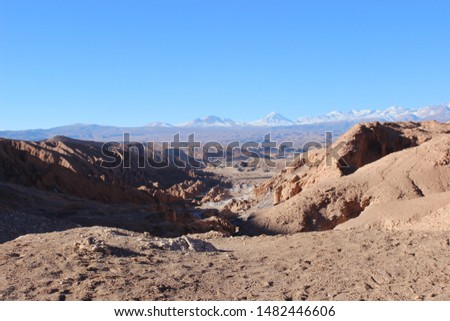 Atacama desert landscapes where you can see the Moon Valley, Death Valley and Chaxa Lagoon #1482446606