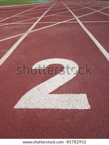 Athletics Track Lane Number 2