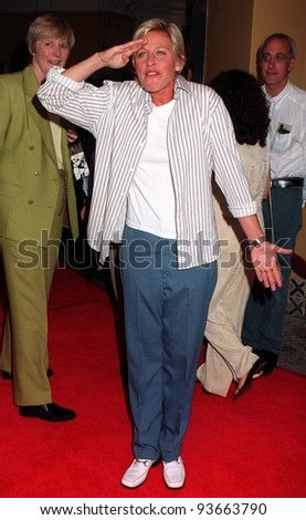 """06AUG97:  Comedienne ELLEN DEGENERES at the premiere,  in Los Angeles, of Demi Moore's new movie, """"G.I. Jane."""""""