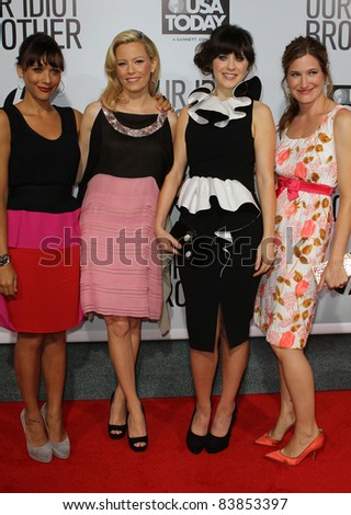 "16 August 2011 - Hollywood, California - Rashida Jones, Elizabeth Banks, Zooey Deschanel, Kathryn Hahn. ""Our Idiot Brother"" - Los Angeles Premiere at The Cinerama Dome. Photo: Kevan Brooks/AdMedia"