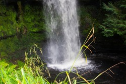 23 August 2019. The small fast running river at the Glencar waterfall site. The glen and falls is a favourite place for country walks.
