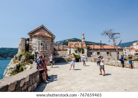 25 august 2017 unidentified people walking around the old town in Budva, Montenegro.