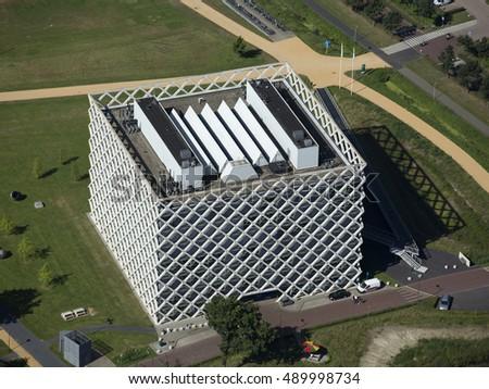 30 August 2016, Wageningen, Holland. Aerial view of the building Atlas Gebouw at the campus of Wageningen Landbouw University. #489998734