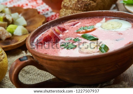 Auksta zupa,  beet soup leaves or sorrel and served with sour cream, Latvian cuisine, Traditional assorted dishes, Top view. Zdjęcia stock ©
