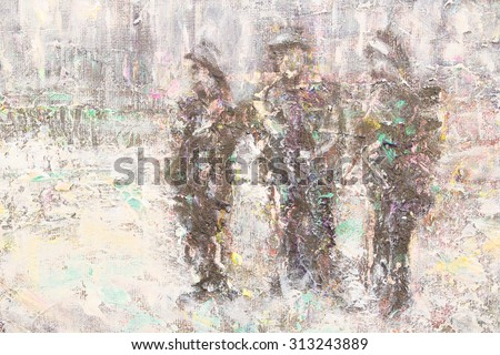 3 Australian soldiers oil painting