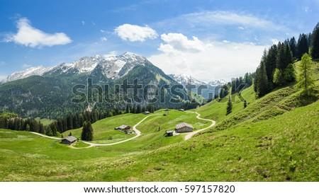 Austrian alpine landscape, alp with beautiful cabins, Salzburger Land, Austria