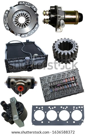 Auto parts, vehicle parts, car accessories isolated on a white background. Vertical frame.