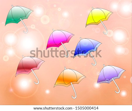autumn background with colorful umbrellas
