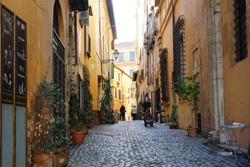 Autumn light on the pittoresque alley in Jewish neighborhood Ghetto in Rome