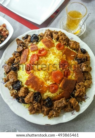 Azeri plov - the national dish of rice, meat, dried apricots, prunes, and lozenges