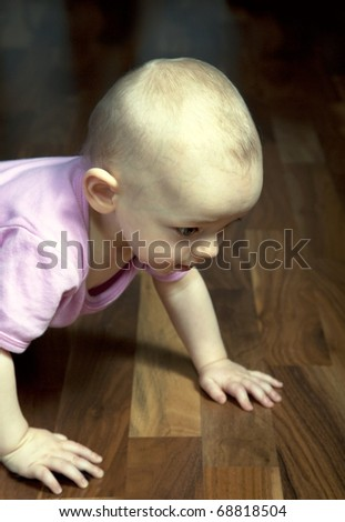 baby girl  crawling on a wooden floor