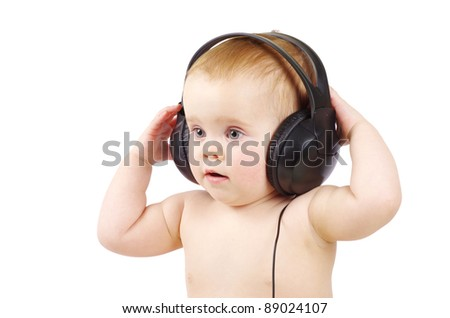 baby with headphone over white background