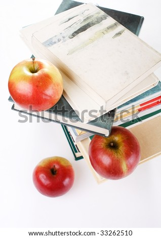 """""""Back to school"""" concept with books and apple"""