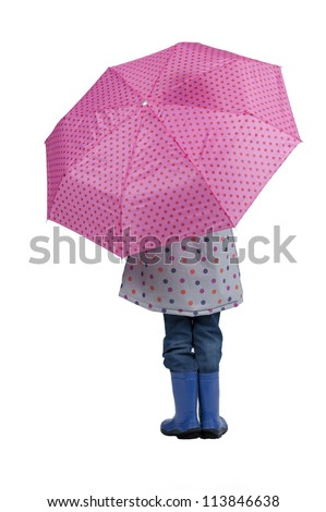 back view of girl with pink umbrella