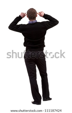 Back view of thinking business man. gesticulating adult businessman  .  backside view of person.  Isolated over white background. Rear view people collection.
