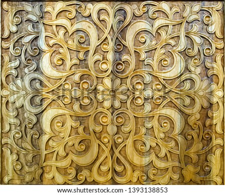 background, antique symmetrical woodcarving, handmade