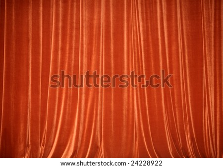 Background of red closed curtain. Theater.