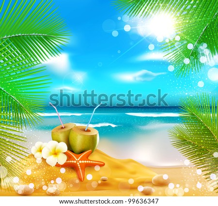 background of the sea, palm trees, coconut cocktail, sea star