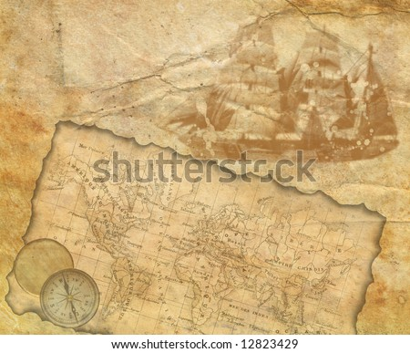 Background - old paper with decorative elements