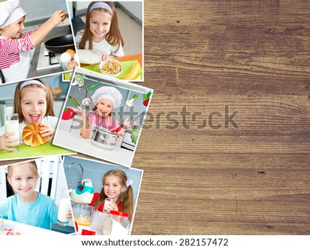 background on a wooden board photo of a pretty girl eat breakfast varied food