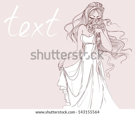 BACKGROUND WITH A BEAUTIFUL BRIDE IN A WEDDING DRESS