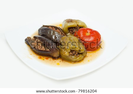 ''Badimjan Dolma''. Traditional Azeri baked, stuffed peppers, aubergine and tomatoes.