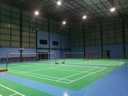 Badminton court in green