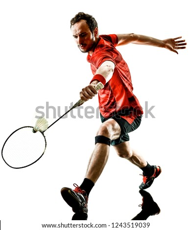 Badminton player man shadow silhouette isolated white backgroun