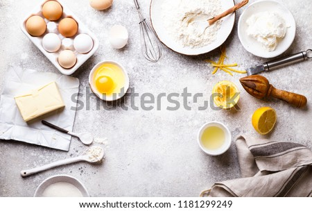 Baking background. Food accessories. Ingredients variety  for cooking dough.Concept Recipe cake of a lemon and pie. Top View. Flat Lay. Copy space for Text.