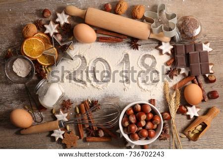 2018, baking new year #736702243