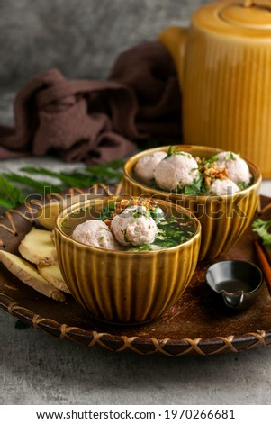Bakso or baso is an Indonesian meatball soup, made а beef and chicken                               Сток-фото ©