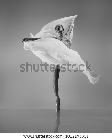 Ballerina with a white flying cloth #1012193311