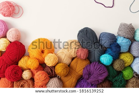 Balls of wool in various colors, on white background Stock photo ©
