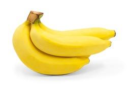 3 bananas, smooth surface, no bruises on white background