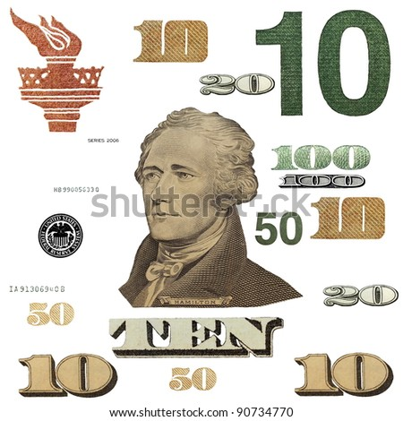 10 $ banknote, photo dollar bill elements isolated on white background